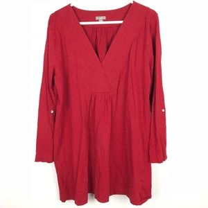 J Jill || Tunic Blouse 3/4 Sleeve Red Size 1x